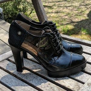 Diesel Lace Up Black Platform Heels